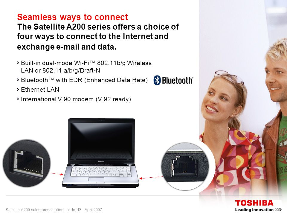 Satellite A200 sales presentation slide: 13 April 2007 Seamless ways to connect The Satellite A200 series offers a choice of four ways to connect to t