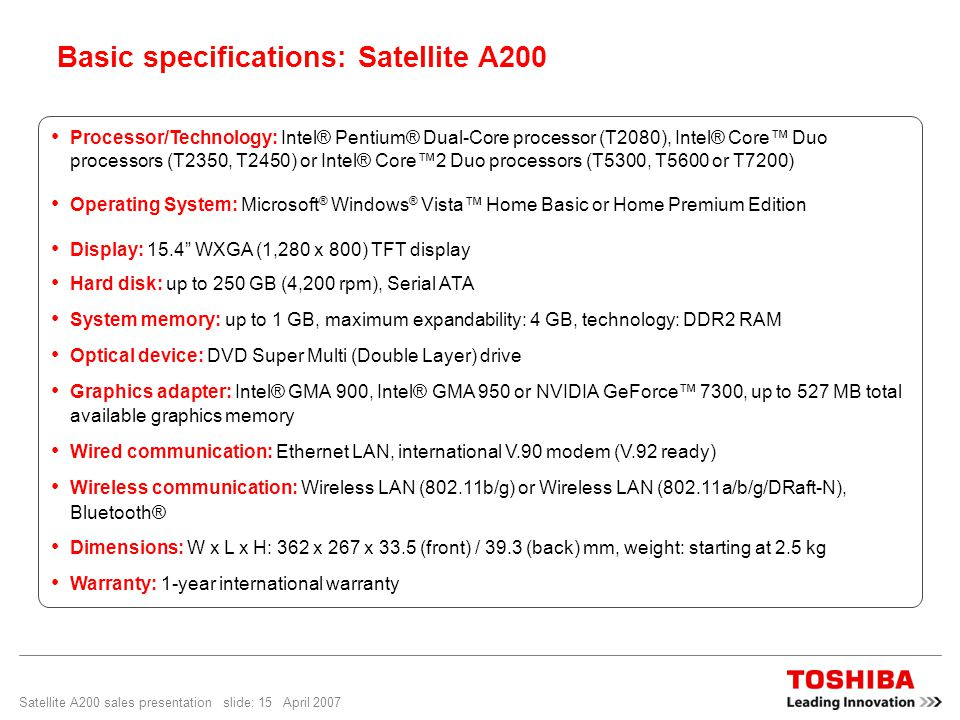 Satellite A200 sales presentation slide: 15 April 2007 Processor/Technology: Intel® Pentium® Dual-Core processor (T2080), Intel® Core™ Duo processors