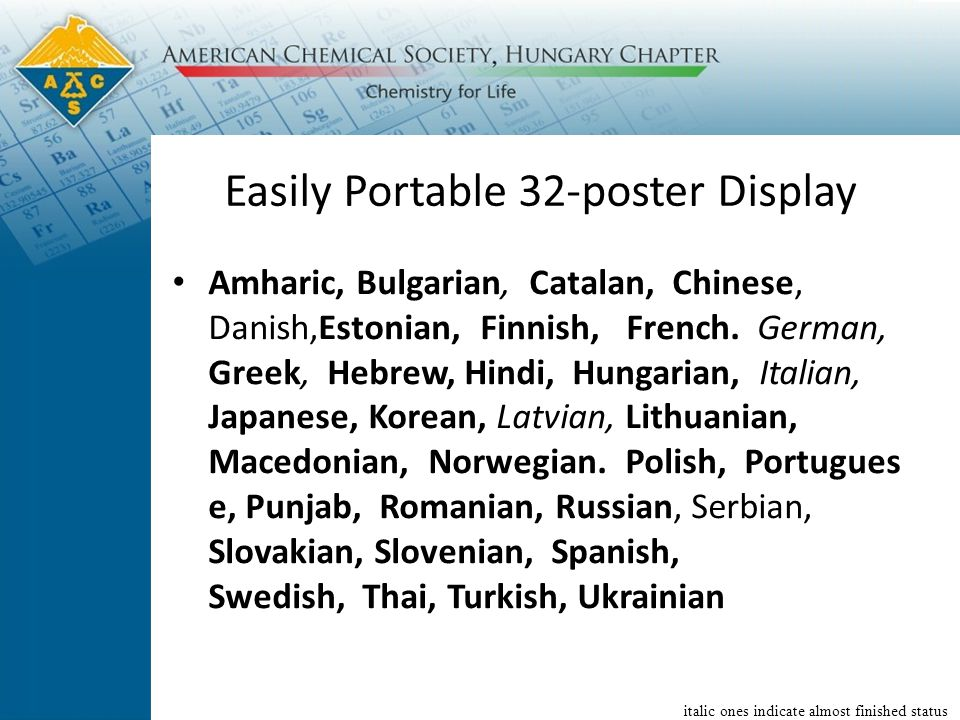Easily Portable 32-poster Display Amharic, Bulgarian, Catalan, Chinese, Danish,Estonian, Finnish, French.