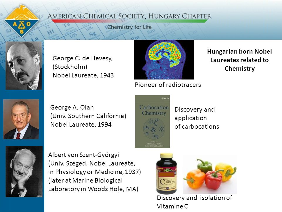 Hungarian born Nobel Laureates related to Chemistry George C.