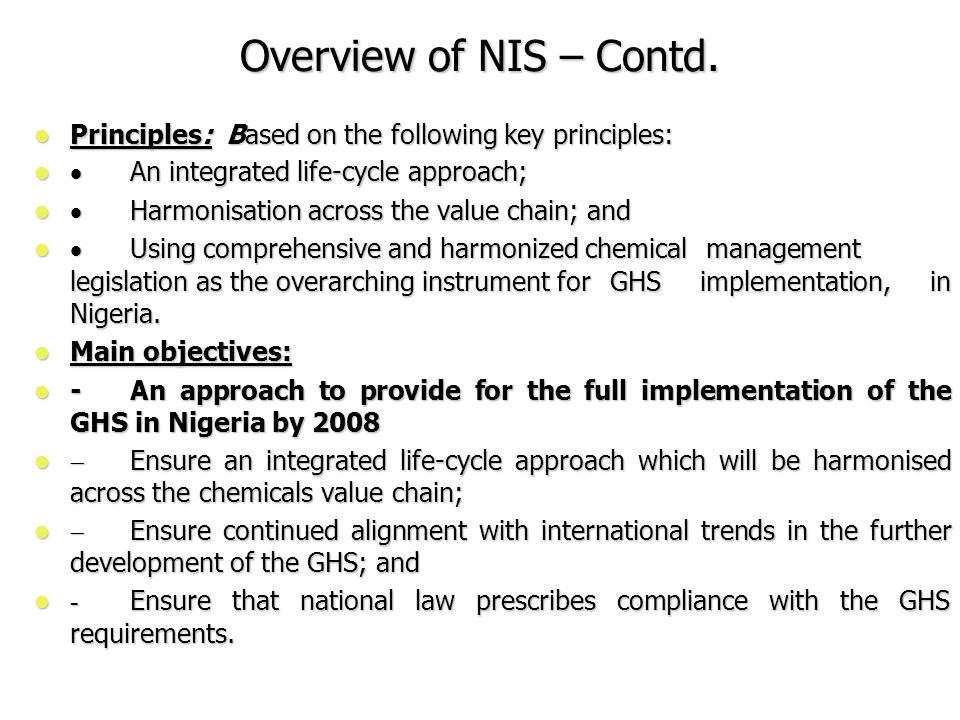 Overview of NIS – Contd.