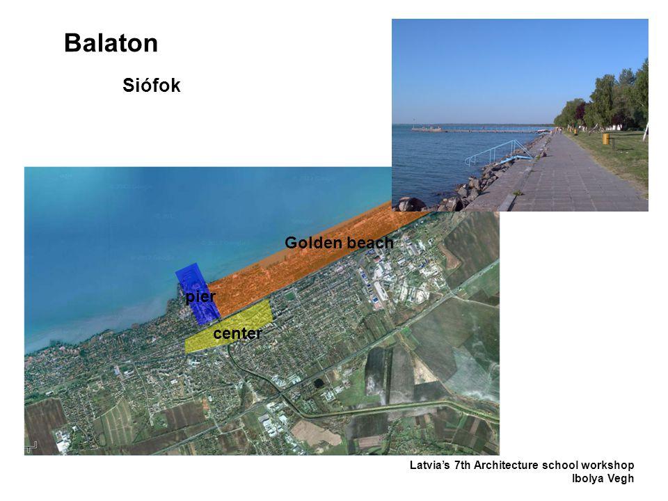 Balaton Latvia's 7th Architecture school workshop Ibolya Vegh Siófok center pier Golden beach