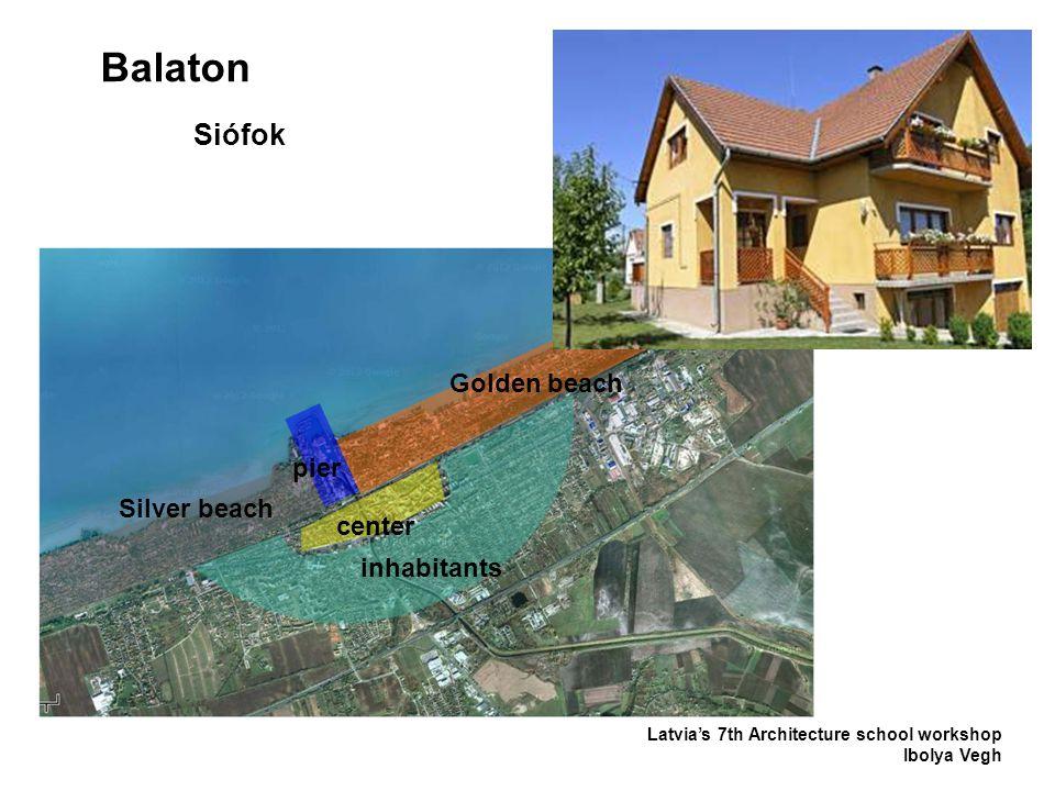Balaton Latvia's 7th Architecture school workshop Ibolya Vegh Siófok inhabitants Silver beach center pier Golden beach