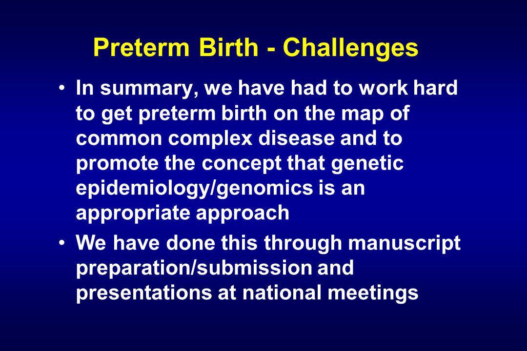 The 2005 PRI Grantees Genetic Analysis of Human Preterm Birth –Louis J.