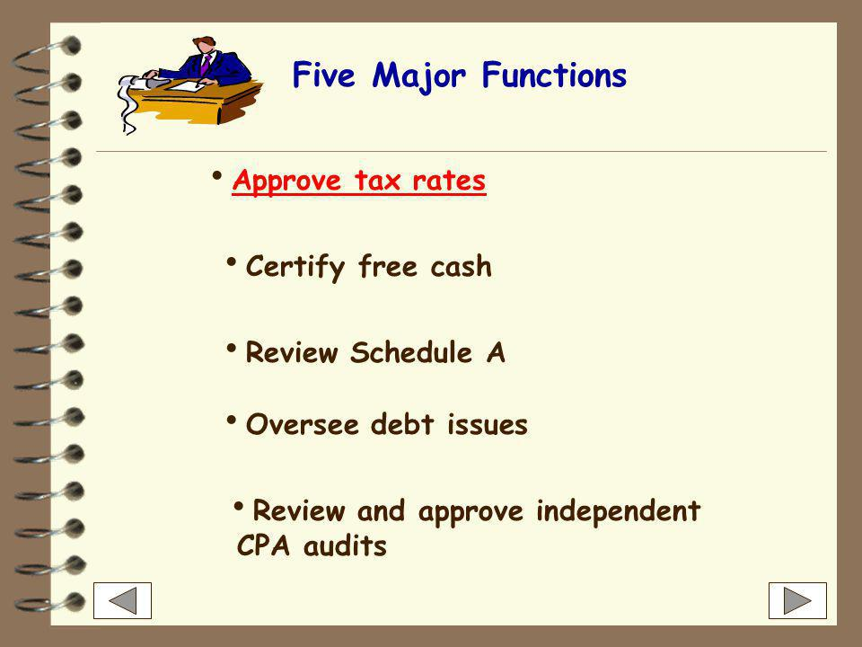 Five Major Functions  Approve tax rates Approve tax rates  Certify free cash  Review Schedule A  Oversee debt issues  Review and approve independent CPA audits