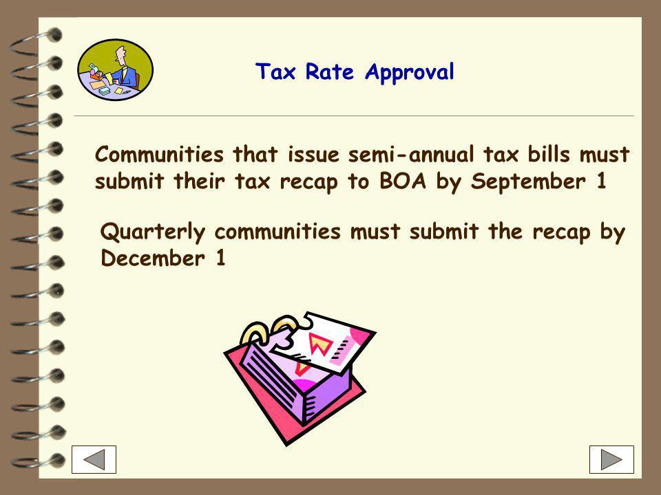 """Tax Rate Approval BOA annually reviews all tax rate recapitulation (""""recap"""") submissions and approves the tax rate provided that the community-- has a"""