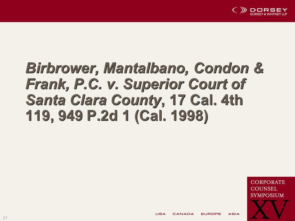 21 Birbrower, Mantalbano, Condon & Frank, P.C. v.