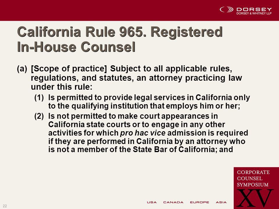 22 California Rule 965.
