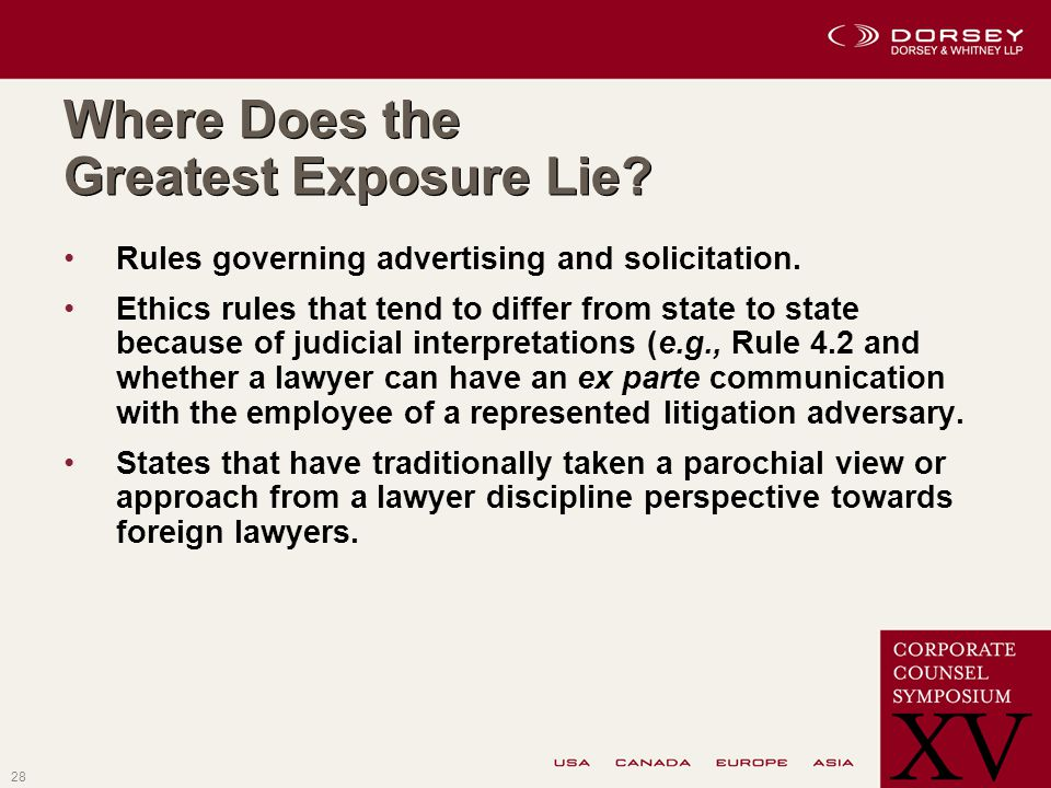 28 Where Does the Greatest Exposure Lie.Rules governing advertising and solicitation.