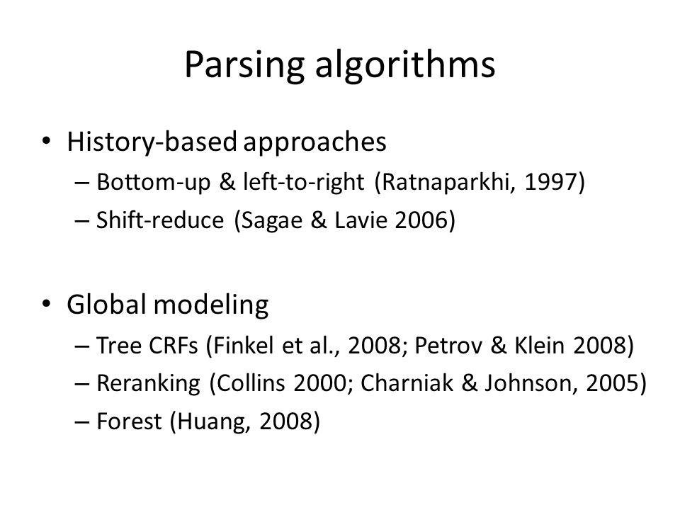 Parsing algorithms History-based approaches – Bottom-up & left-to-right (Ratnaparkhi, 1997) – Shift-reduce (Sagae & Lavie 2006) Global modeling – Tree CRFs (Finkel et al., 2008; Petrov & Klein 2008) – Reranking (Collins 2000; Charniak & Johnson, 2005) – Forest (Huang, 2008)