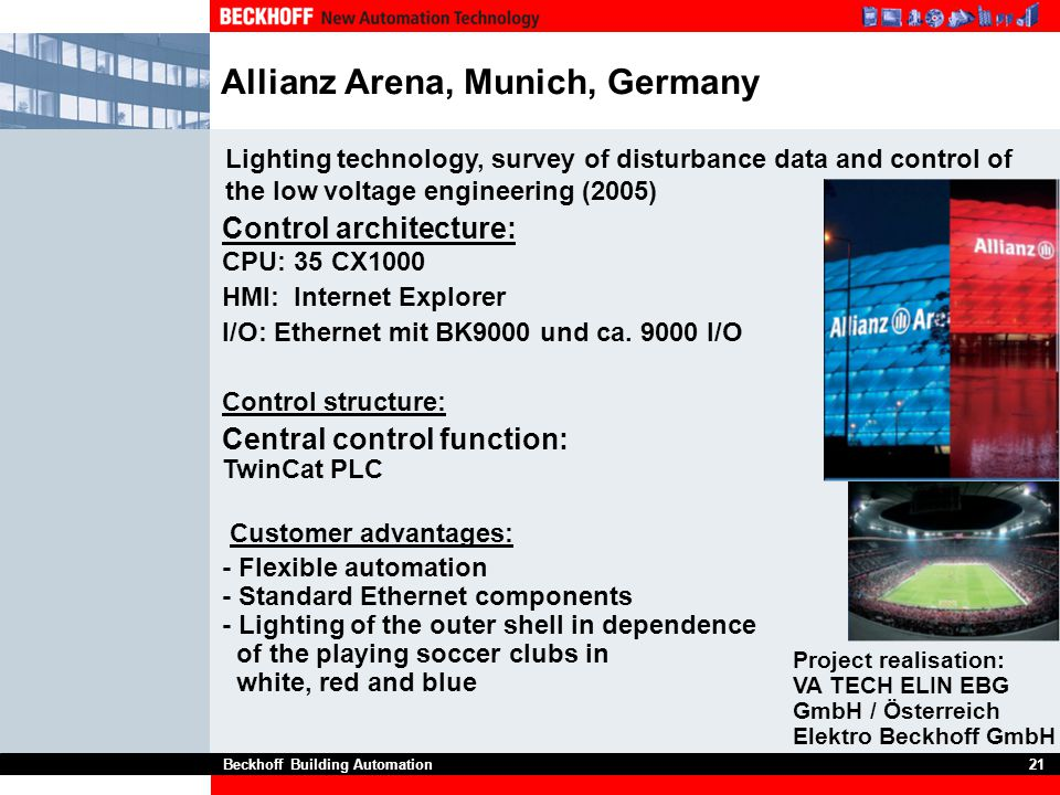 Beckhoff Building Automation21 Allianz Arena, Munich, Germany Project realisation: VA TECH ELIN EBG GmbH / Österreich Elektro Beckhoff GmbH Lighting t