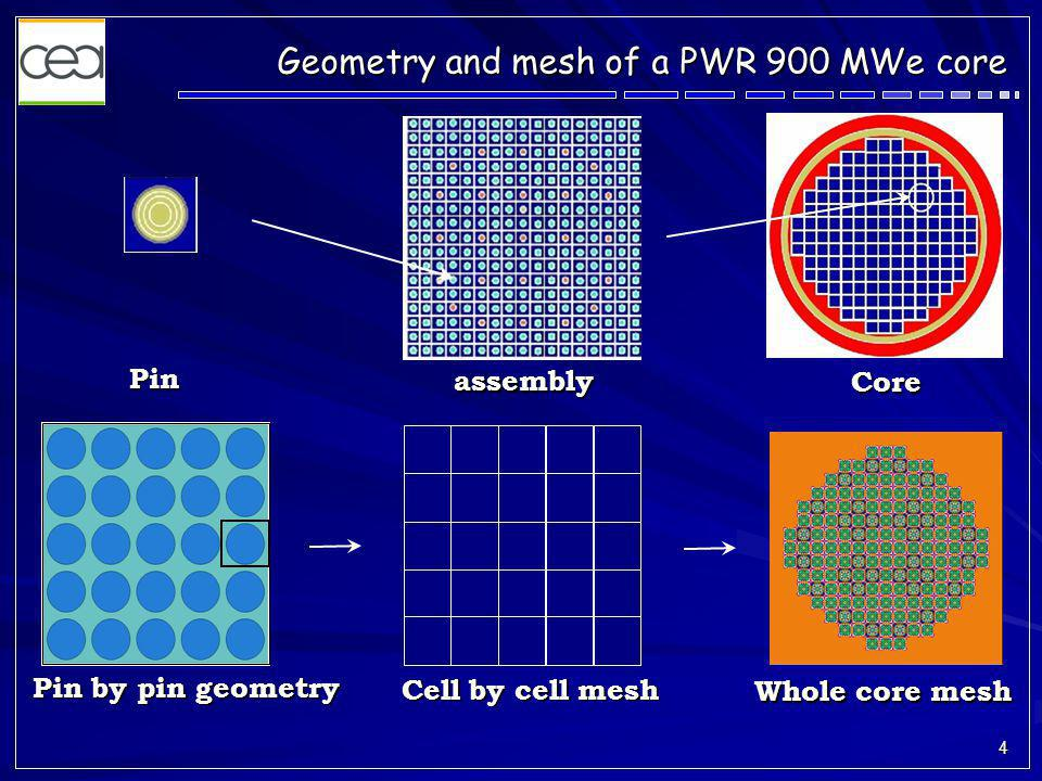 4 Geometry and mesh of a PWR 900 MWe core Pin assembly Core Pin by pin geometry Cell by cell mesh Whole core mesh