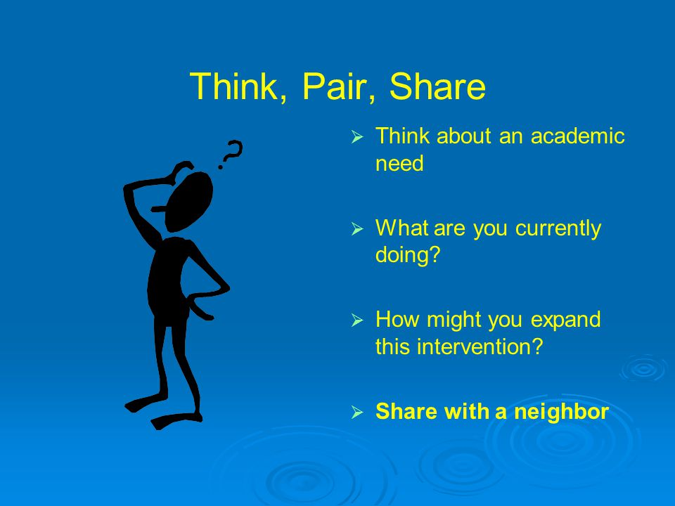 Think, Pair, Share   Think about an academic need   What are you currently doing?   How might you expand this intervention?   Share with a nei