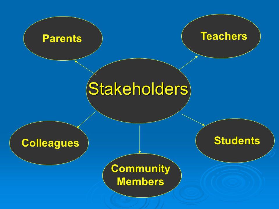 Stakeholders Parents Teachers Community Members Students Colleagues Teachers Community Members Students