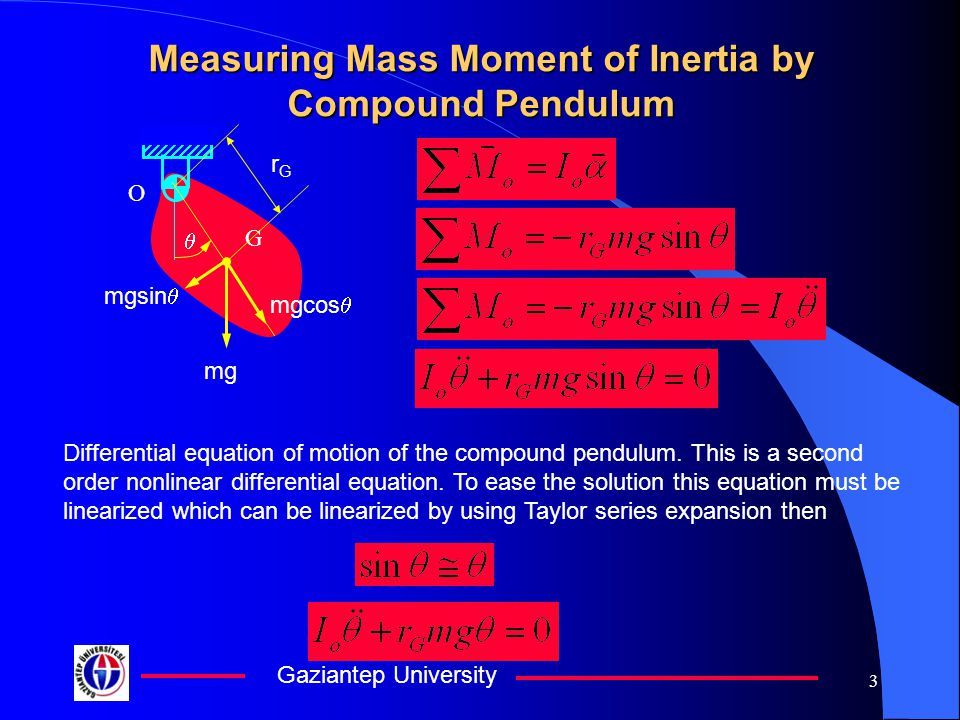 Gaziantep University 4 Measuring Mass Moment of Inertia by Compound Pendulum Where A&B are arbitrary coefficient related with the initial values of the motion t is time  n is natural circular frequency O G  mg mgsin  mgcos  rGrG nn