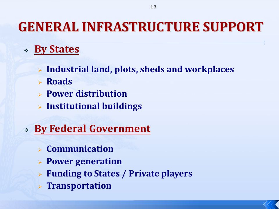  By States  Industrial land, plots, sheds and workplaces  Roads  Power distribution  Institutional buildings  By Federal Government  Communicat