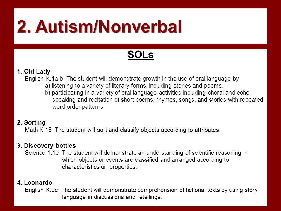 2. Autism/Nonverbal SOLs 1.