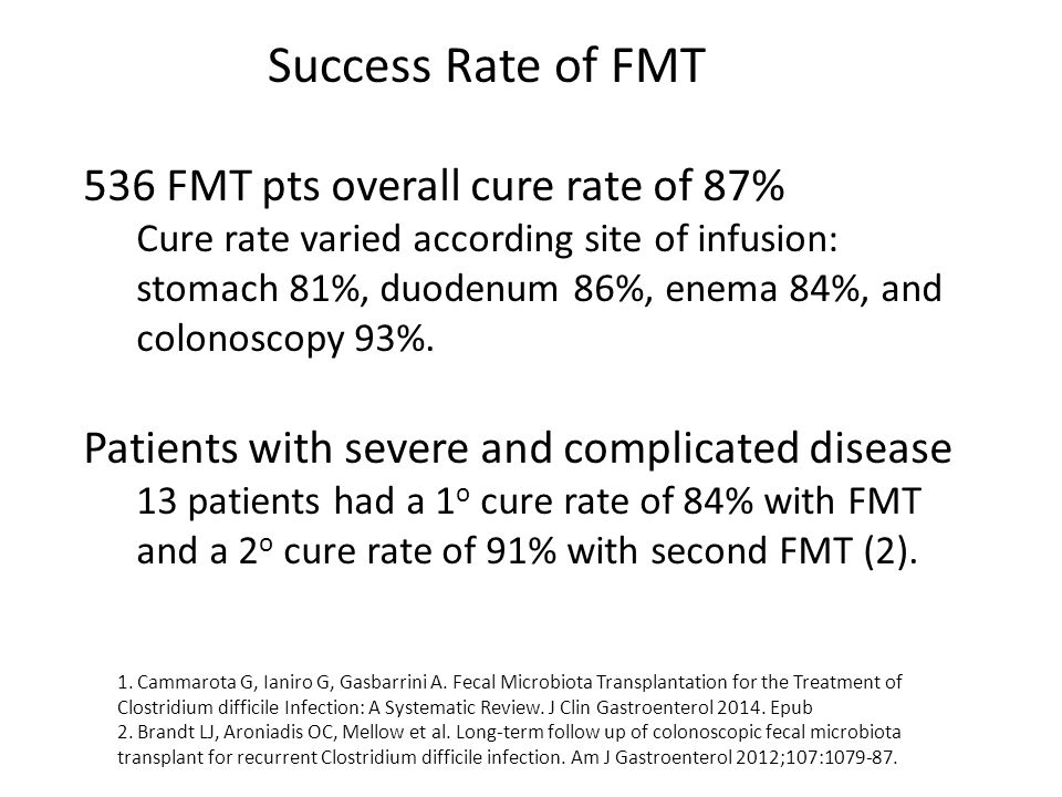 536 FMT pts overall cure rate of 87% Cure rate varied according site of infusion: stomach 81%, duodenum 86%, enema 84%, and colonoscopy 93%. Patients