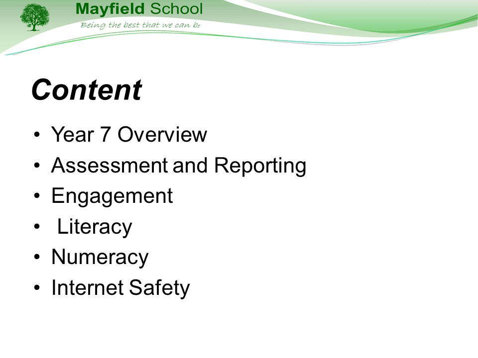 Content Year 7 Overview Assessment and Reporting Engagement Literacy Numeracy Internet Safety