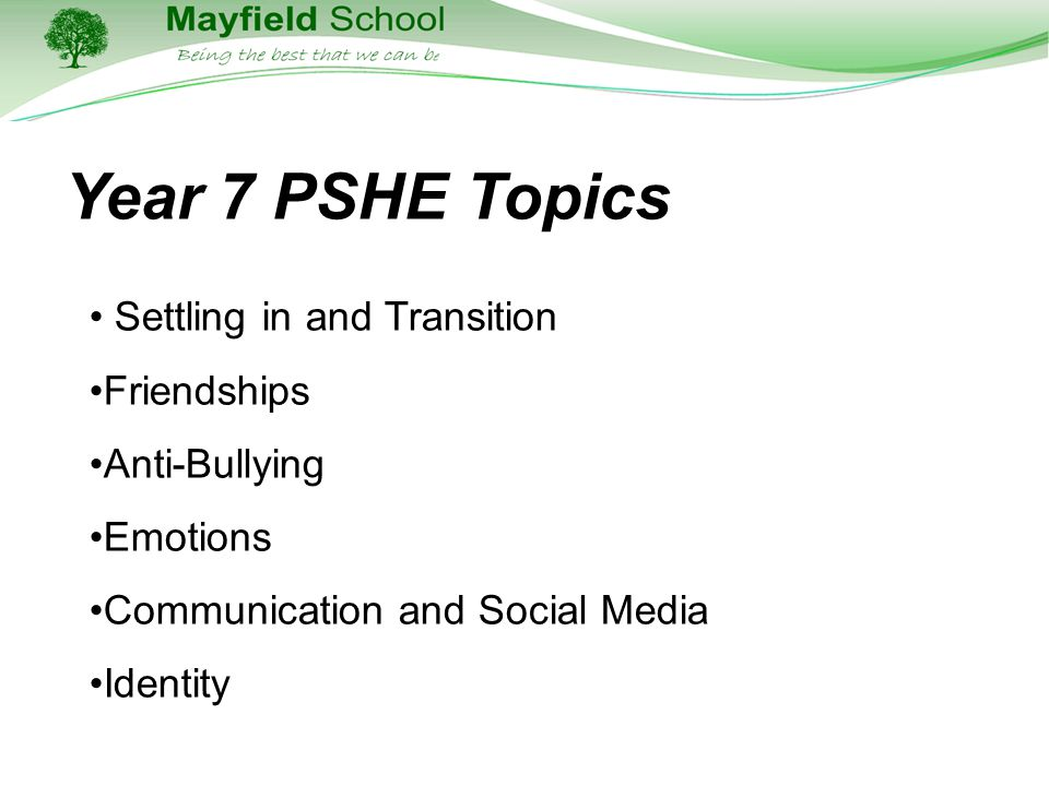 Year 7 PSHE Topics Settling in and Transition Friendships Anti-Bullying Emotions Communication and Social Media Identity