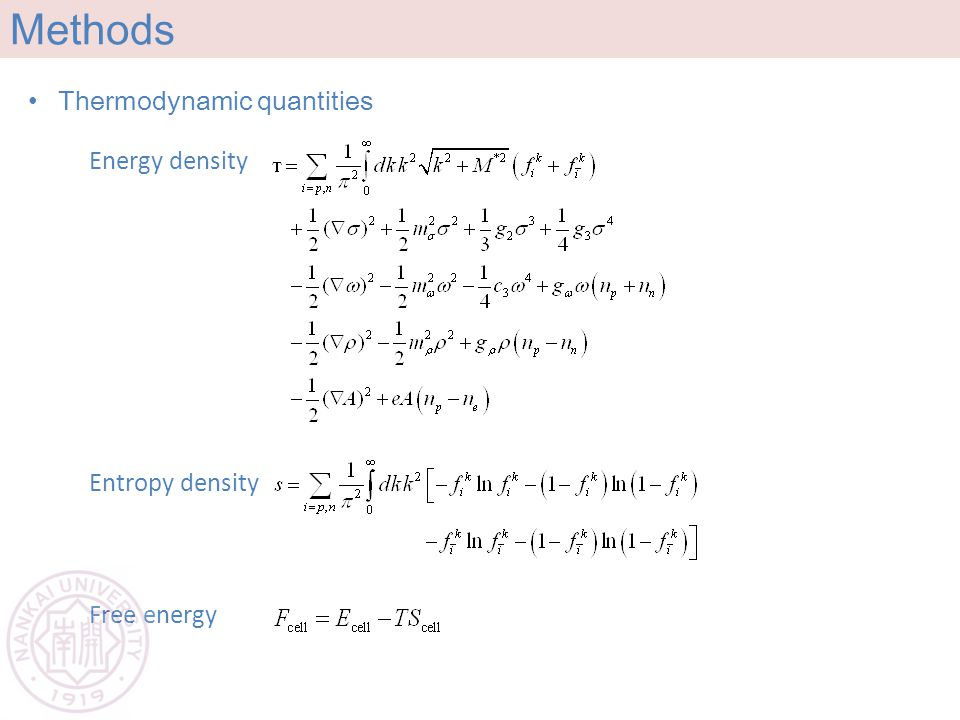 Methods Thermodynamic quantities Entropy density Free energy Energy density