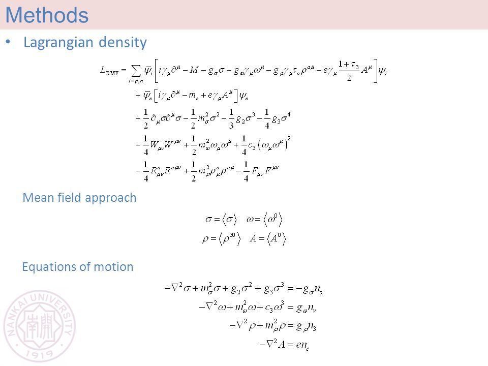 Methods Lagrangian density Equations of motion Mean field approach