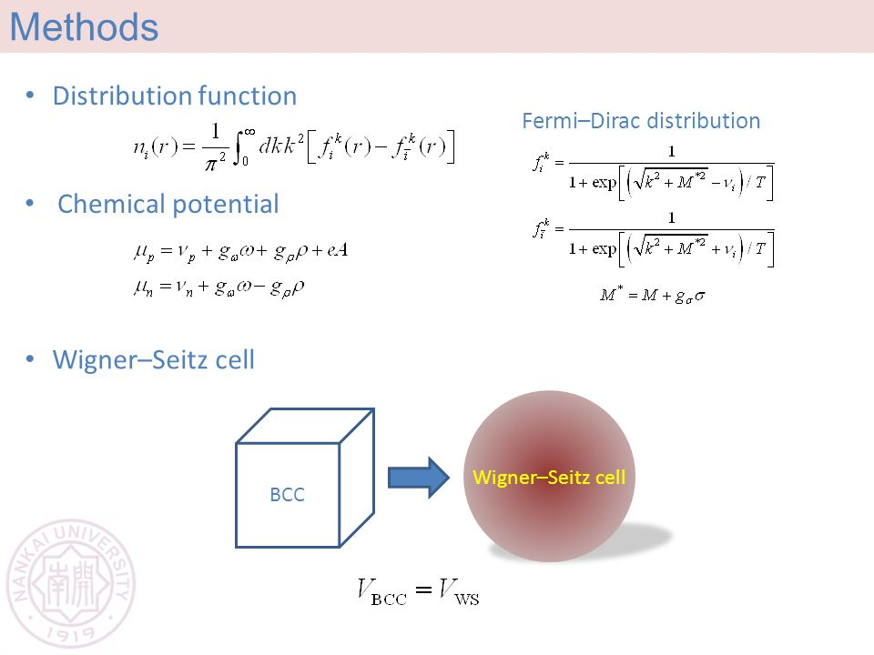Methods Distribution function Fermi–Dirac distribution Chemical potential Wigner–Seitz cell BCC