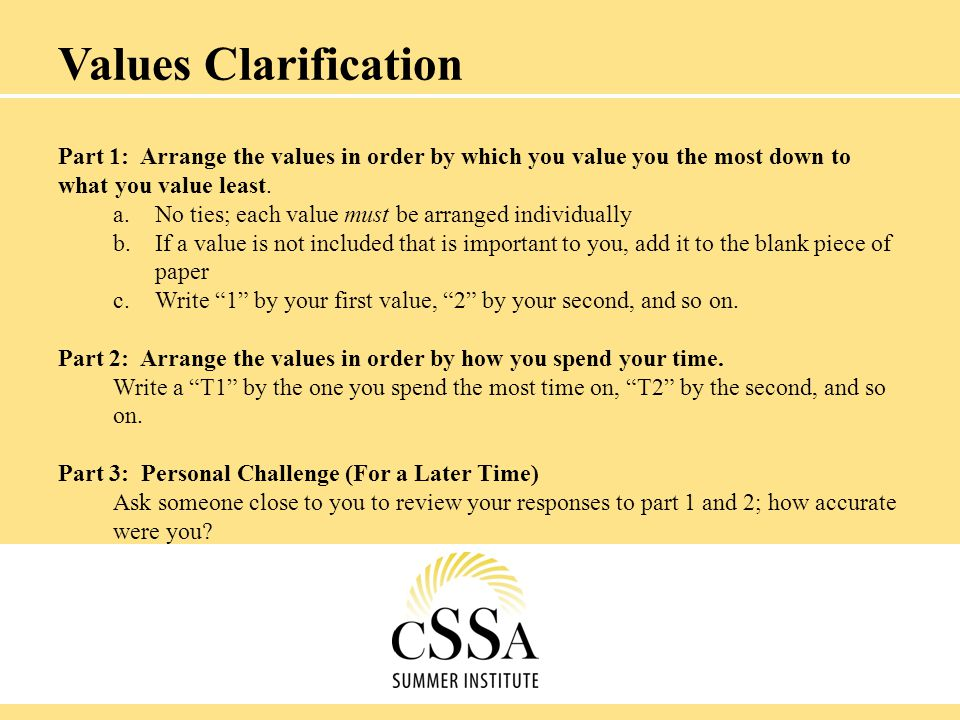Part 1: Arrange the values in order by which you value you the most down to what you value least. a.No ties; each value must be arranged individually