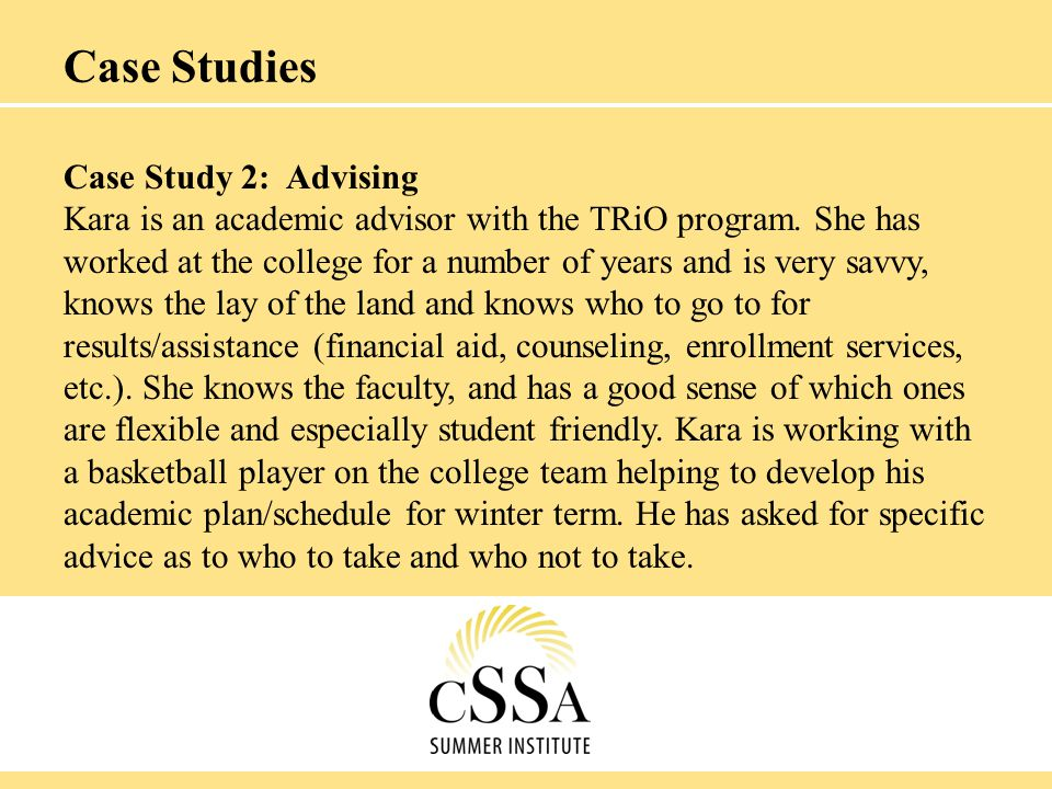 Case Studies Case Study 3: Personal Knowledge Rita works in the Tutoring Center.