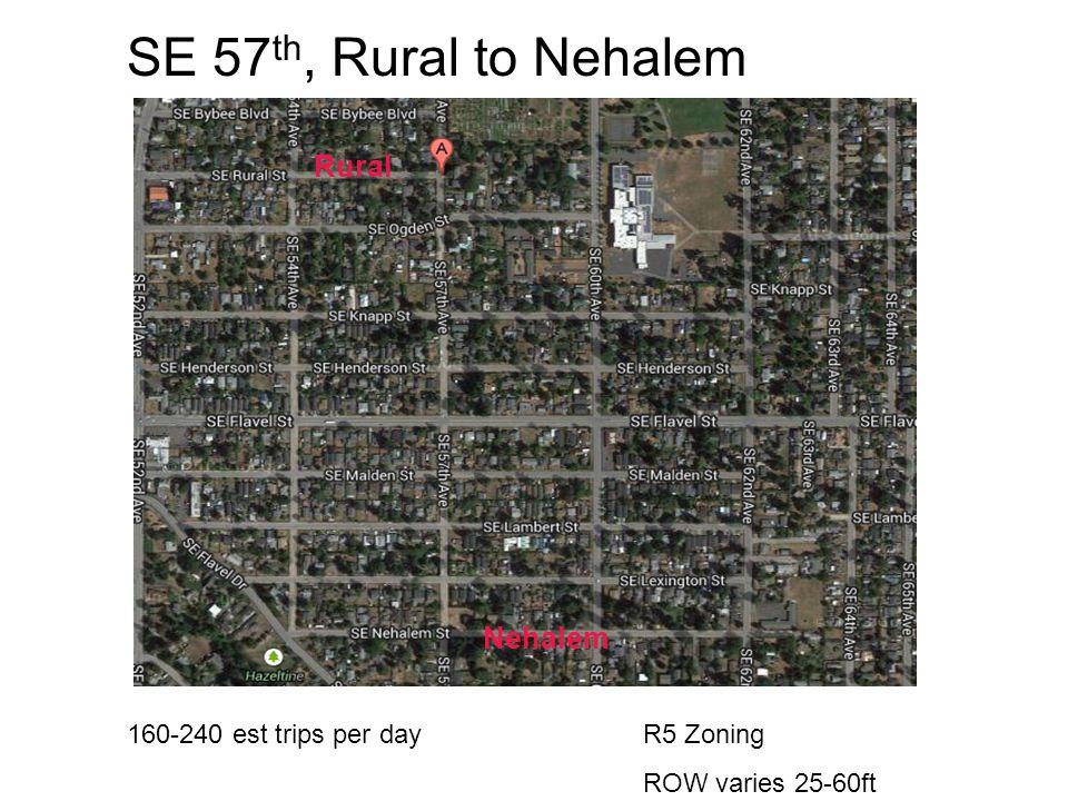 SE 57 th, Rural to Nehalem R5 Zoning ROW varies 25-60ft Nehalem Rural 160-240 est trips per day