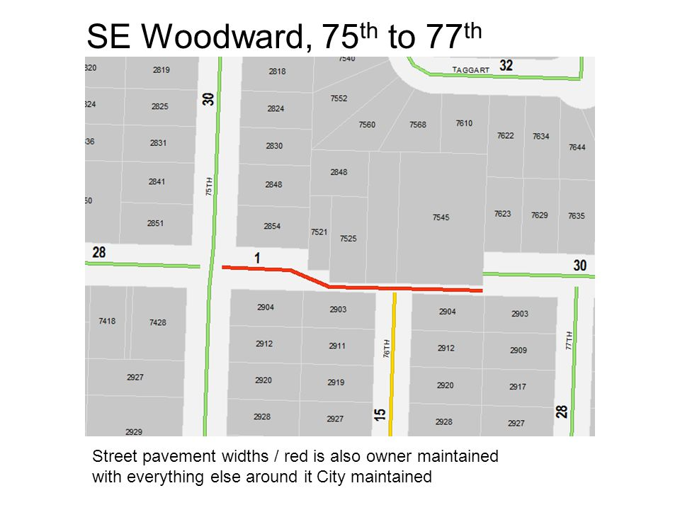 SE Woodward, 75 th to 77 th Street pavement widths / red is also owner maintained with everything else around it City maintained