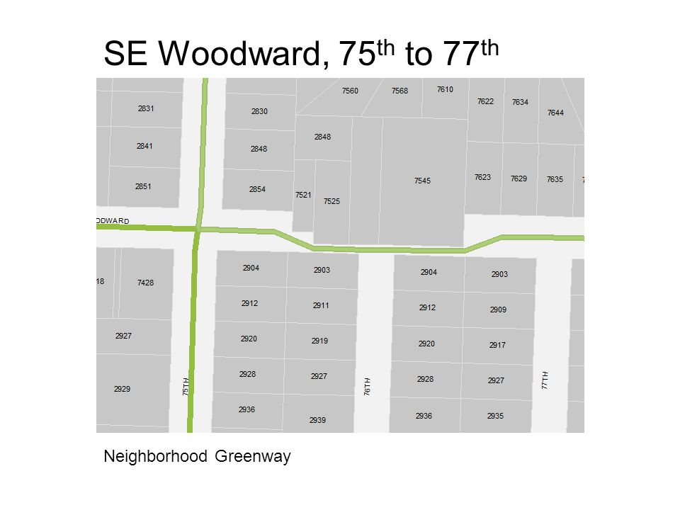 SE Woodward, 75 th to 77 th Neighborhood Greenway