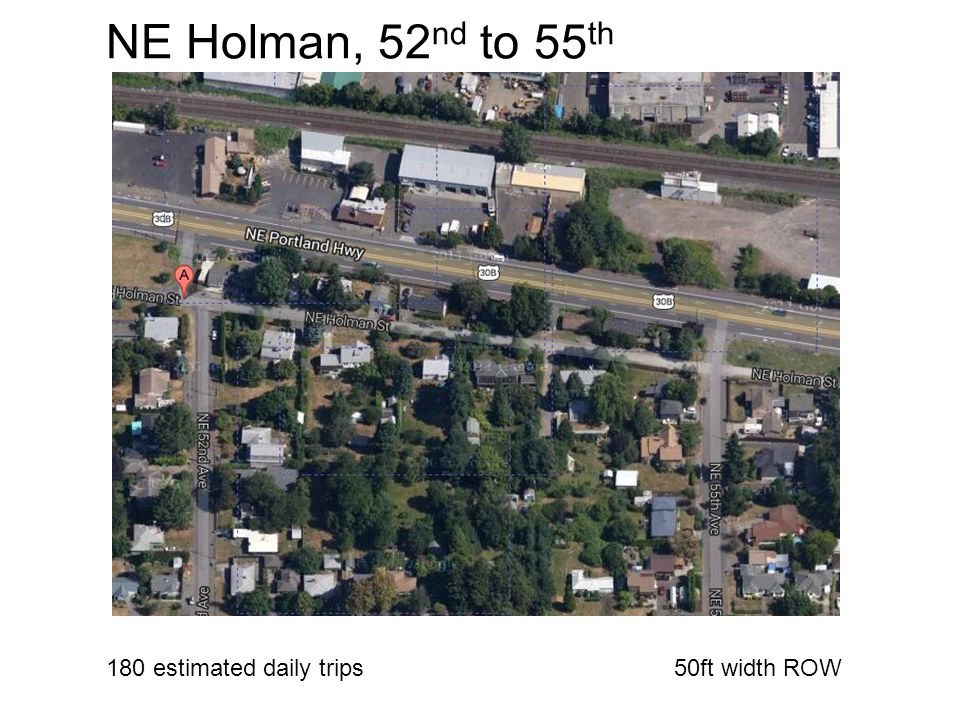 NE Holman, 52 nd to 55 th 180 estimated daily trips50ft width ROW