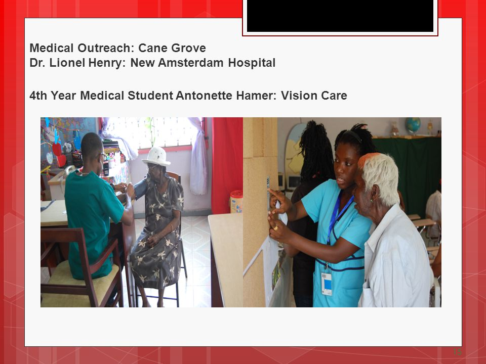 15 Medical Outreach: Cane Grove Dr. Lionel Henry: New Amsterdam Hospital 4th Year Medical Student Antonette Hamer: Vision Care
