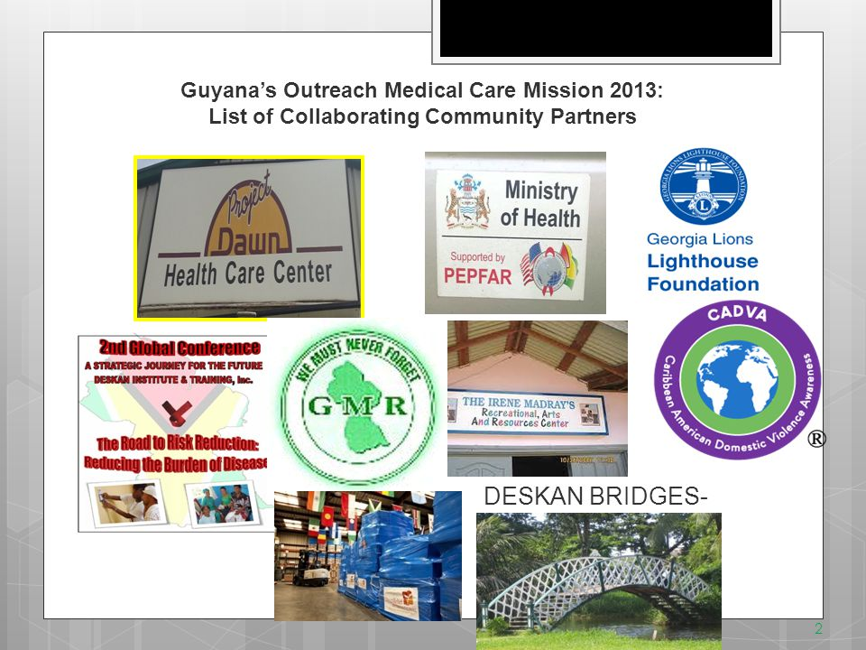 13 Summary of Outreach Medical Clinic: Cane Grove: Region 4: Demerara-Mahaica  19 Team members who traveled from USA also included speakers for the conference.