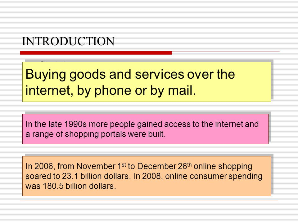 INTRODUCTION Definition Buying goods and services over the internet, by phone or by mail. Buying goods and services over the internet, by phone or by