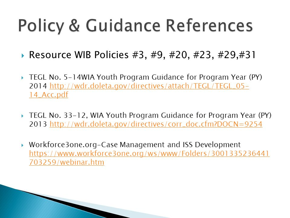  Resource WIB Policies #3, #9, #20, #23, #29,#31  TEGL No.