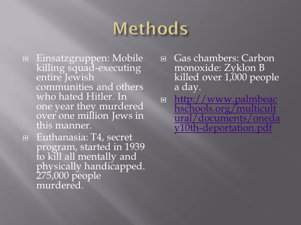 Einsatzgruppen: Mobile killing squad-executing entire Jewish communities and others who hated Hitler. In one year they murdered over one million Jew