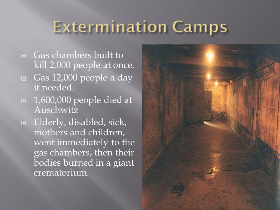  Gas chambers built to kill 2,000 people at once.  Gas 12,000 people a day if needed.  1,600,000 people died at Auschwitz  Elderly, disabled, sick