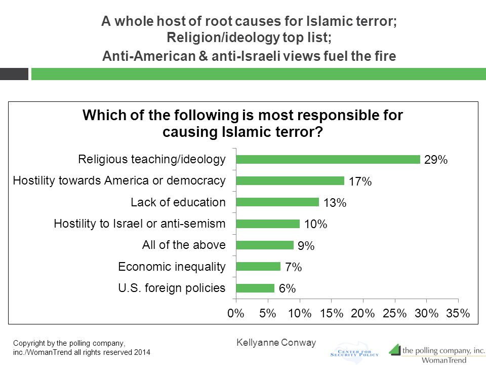 A whole host of root causes for Islamic terror; Religion/ideology top list; Anti-American & anti-Israeli views fuel the fire Copyright by the polling company, inc./WomanTrend all rights reserved 2014 Kellyanne Conway