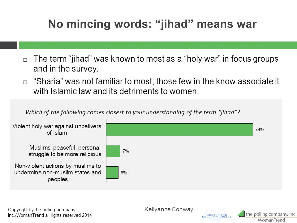 No mincing words: jihad means war  The term jihad was known to most as a holy war in focus groups and in the survey.
