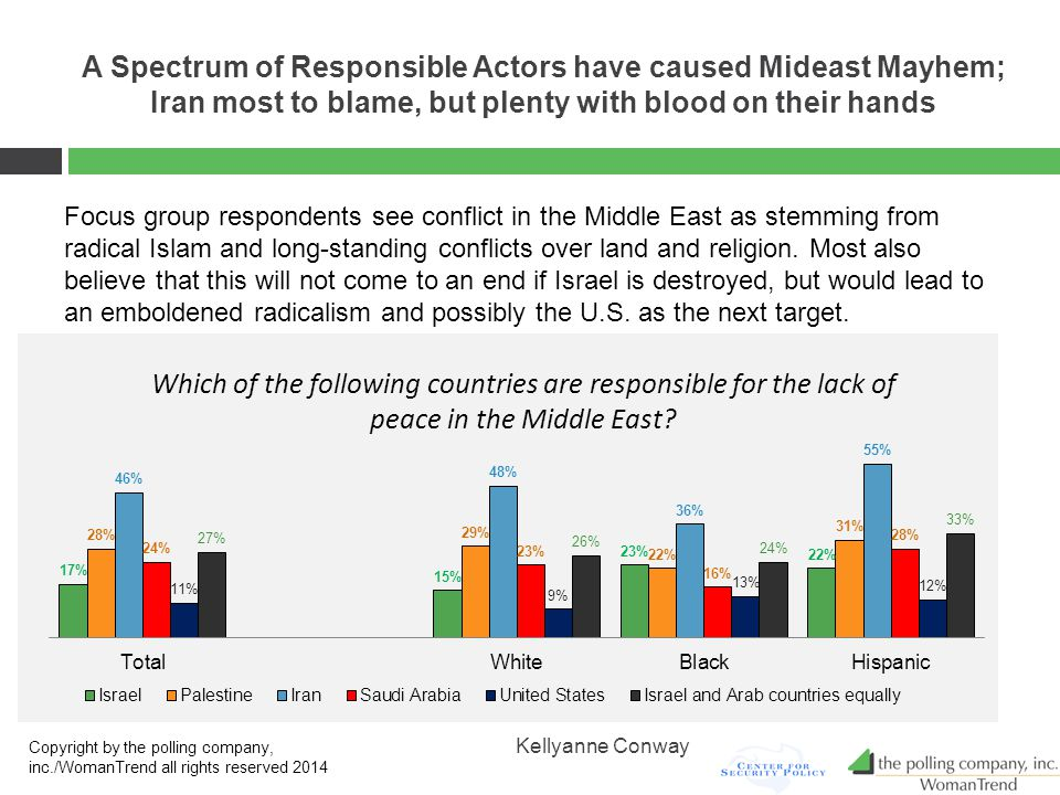 A Spectrum of Responsible Actors have caused Mideast Mayhem; Iran most to blame, but plenty with blood on their hands Focus group respondents see conflict in the Middle East as stemming from radical Islam and long-standing conflicts over land and religion.