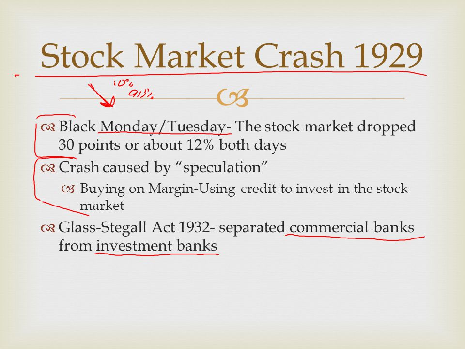 """  Black Monday/Tuesday- The stock market dropped 30 points or about 12% both days  Crash caused by """"speculation""""  Buying on Margin-Using credit to"""