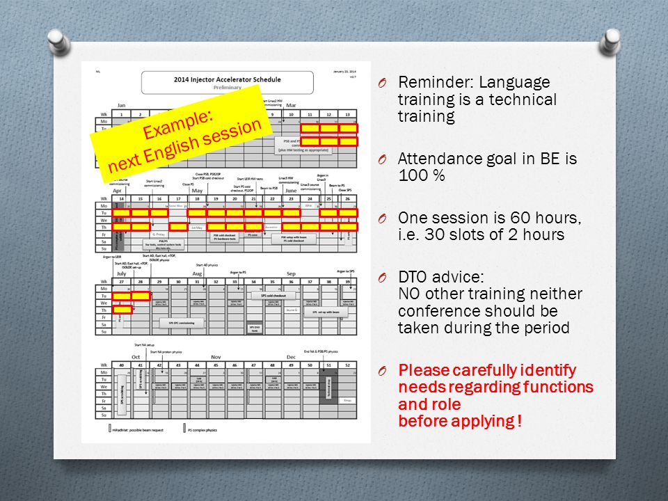 Two sessions a year is almost full time O Reminder: Language training is a technical training O Attendance goal in BE is 100 % O One session is 60 hours, i.e.
