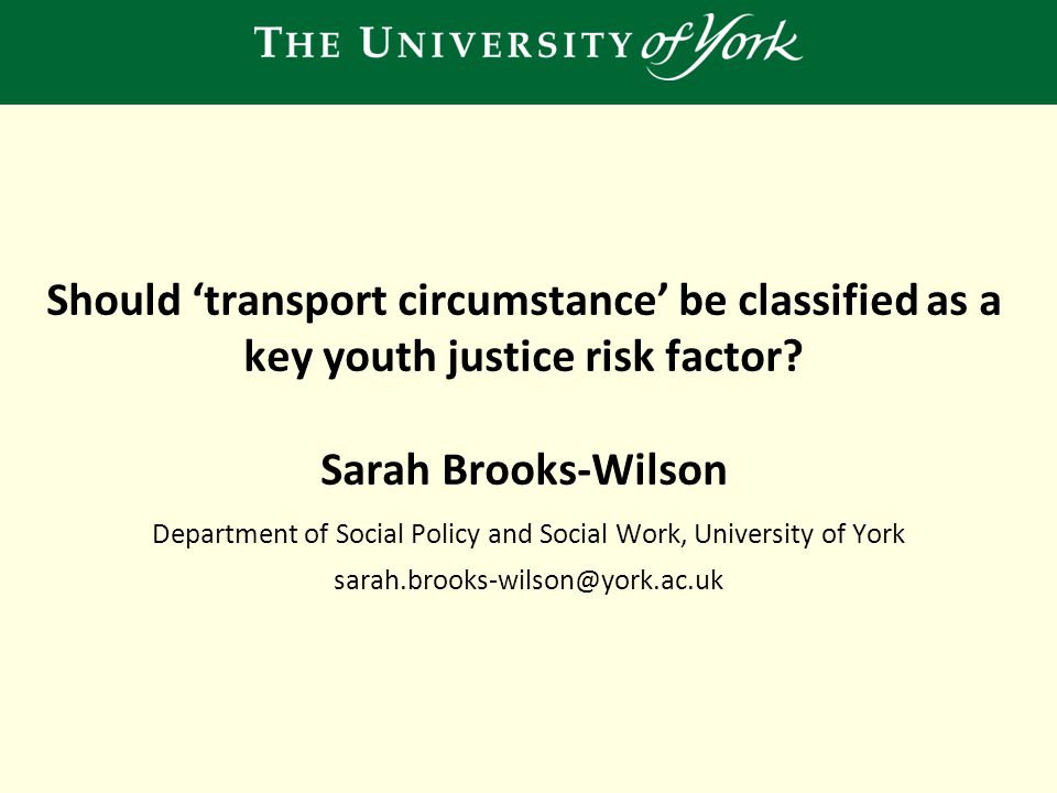 Should 'transport circumstance' be classified as a key youth justice risk factor.