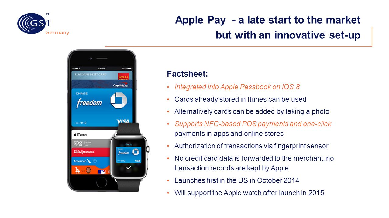 Apple Pay - a late start to the market but with an innovative set-up Factsheet: Integrated into Apple Passbook on IOS 8 Cards already stored in Itunes