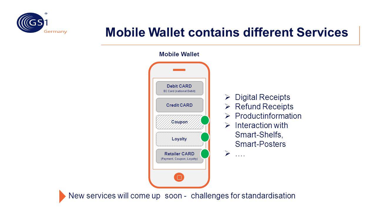 Mobile Wallet contains different Services Mobile Wallet Debit CARD EC Card (national Debit) Credit CARD Coupon Loyalty Retailer CARD (Payment, Coupon,