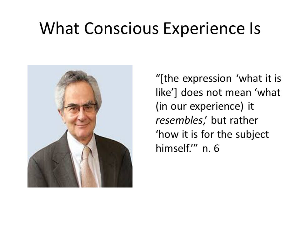 What Conscious Experience Is [the expression 'what it is like'] does not mean 'what (in our experience) it resembles,' but rather 'how it is for the subject himself.' n.