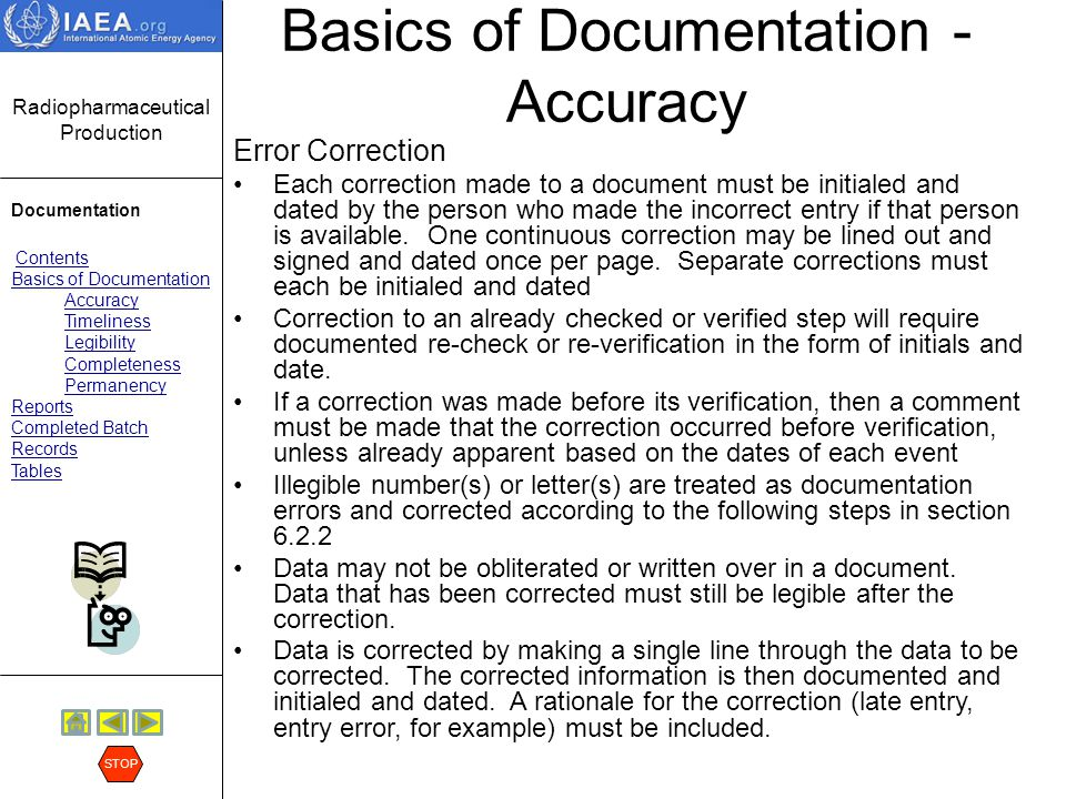 Radiopharmaceutical Production Documentation Contents Basics of Documentation Accuracy Timeliness Legibility Completeness Permanency Reports Completed Batch Records Tables STOP Basics of Documentation - Accuracy Error Correction (cont.) When correcting data, the entire value must be crossed out and corrected.