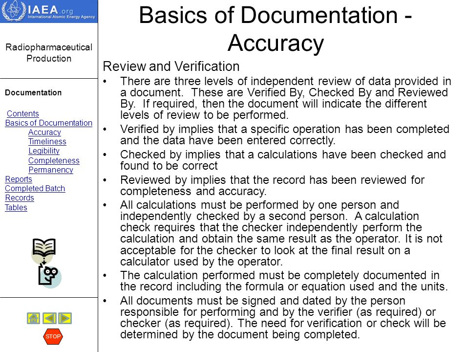 Radiopharmaceutical Production Documentation Contents Basics of Documentation Accuracy Timeliness Legibility Completeness Permanency Reports Completed Batch Records Tables STOP Basics of Documentation - Accuracy Signature Signing or initialing data indicates agreement with the legitimacy of the data content and its proper documentation (correct dates etc.).